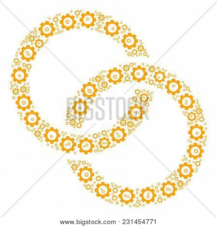 Wedding Rings Mosaic Of Cogs. Vector Cogwheel Components Are Combined Into Wedding Rings Illustratio
