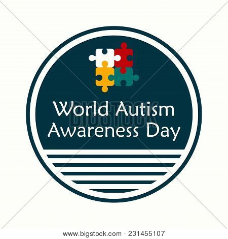 Creative Vector Abstract For World Autism Awareness Day. Holiday Or Event For People With Autism. Fl