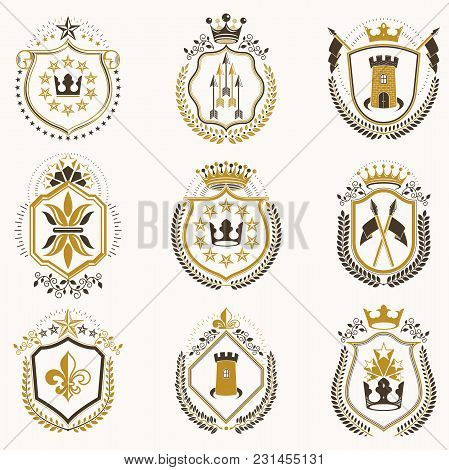 Set Of Vector Vintage Emblems Created With Decorative Elements Like Crowns, Stars, Bird Wings, Armor