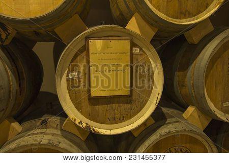 Yerevan, Armenia -21 September 2017: Noy (ararat) Brandy Factory Museum Visit With Congac Tasting. T