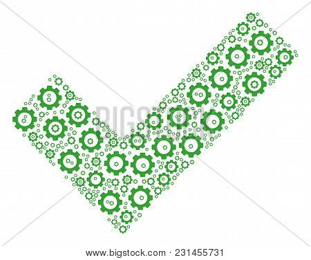 Yes Composition Of Gear Elements. Vector Cog Wheel Elements Are Composed Into Yes Composition.