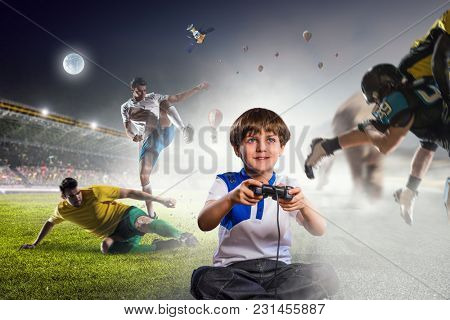 Boy playing a video game. Mixed media