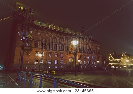 Copenhagen, Denmark - March 11th, 2018: Architecture And Details Of City Hall Square In Copenhagen C
