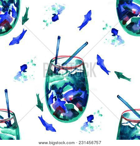 Blue Lagoon Cocktail. Watercolor Seamless Pattern On White