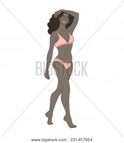 Illustration Of Attractive African Slim Woman In Light Orange Underwear On Isolated White Background