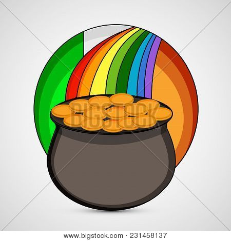 Illustration Of Gold Coins Pot On Ireland Flag Background On The Occasion Of Ireland Festival St. Pa