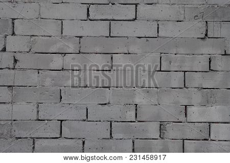 Wall Made Of Gray Concrete Masonry Units