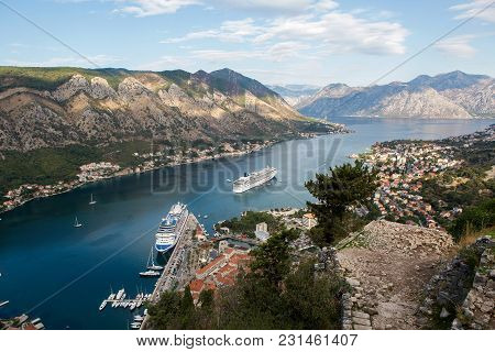 Kotor, Montenegro - September 26: Large Ship With Tourists Sailing On The Boat In The European Day O