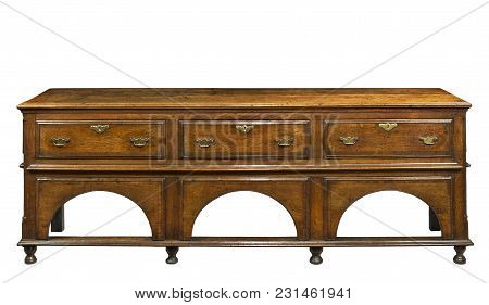 Antique English Dresser Base Buffet Serving Table Made Of Oak Isolated On White