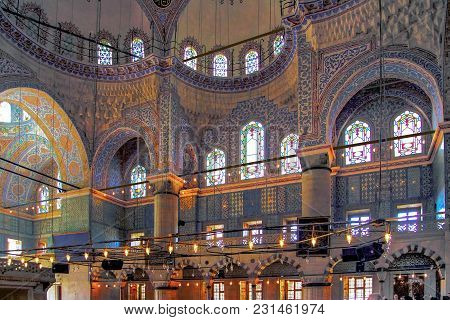 Istanbul, Turkey - March 24, 2012: Interior Of The Sultanahmet Mosque.