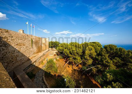 Fortification  Of  Castillo De Gibralfaro  In Malaga, Costa Del Sol, Andalusia, Spain