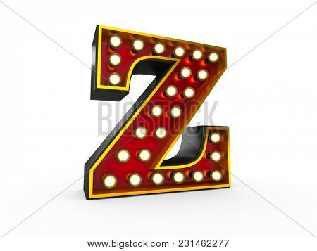 High quality 3D illustration of the letter Z in Broadway style with light bulbs illuminating it over white background