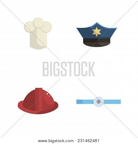 Set Of Head Hats Professions Related Items And Uniform Cartoon Style Vector Illustration