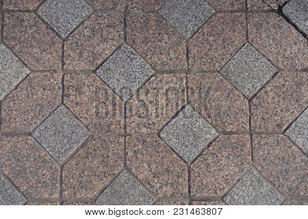 Top View Of Pink And Grey Unpolished Granite Pavers