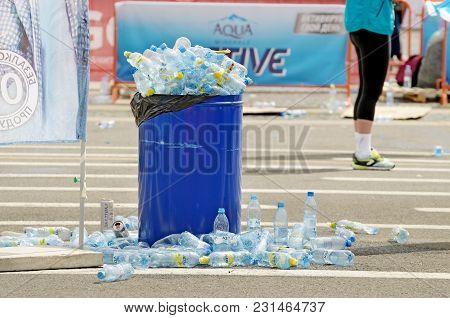 Saint-petersburg.russia.july.09.2017.after The Marathon,athletes Drink A Lot Of Fresh Water.in The U