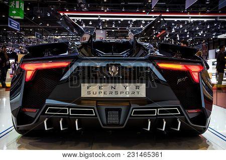 Geneva, Switzerland - March 7, 2018: Rear View Of The W Motors Fenyr Supersport Sports Car Presented
