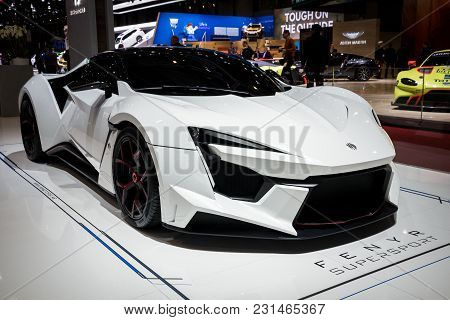 Geneva, Switzerland - March 7, 2018: W Motors Fenyr Supersport Sports Car Presented At The 88th Gene