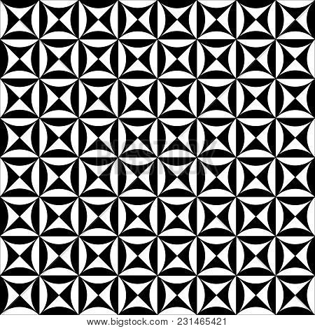 Vector Black And White Geometric Seamless Pattern Based On The Intersection Of Circles And Squares.