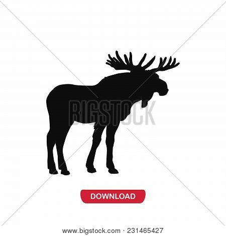 Moose Icon Vector In Modern Flat Style For Web, Graphic And Mobile Design. Moose Icon Vector Isolate