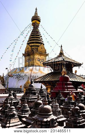Swayambhunath (monkey Temple) Stupa In Kathmandu, Nepal