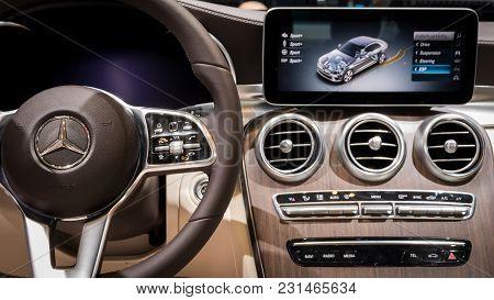 Geneva, Switzerland - March 7, 2018: Interior View Of The New Mercedes-benz C-class C200 Car Present