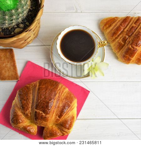 Coffee Cup With Espresso On A Saucer, Rose Table-napkin, Croissants, Biscuits, Cactus In Basket, Gre