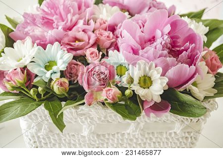 Background Of Beautiful Pink And White Flowers, A Gift For The Holiday, Macro Photo