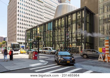 Streets And Skyscrapers In The Center Of New York City Near Wall Street.