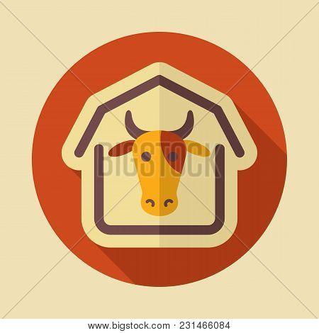 Cowshed Icon. Farm Animal Sign. Graph Symbol For Your Web Site Design, Logo, App, Ui. Vector Illustr