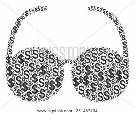 Spectacles Composition Of Dollar Symbols. Vector Dollar Currency Icons Are Organized Into Spectacles