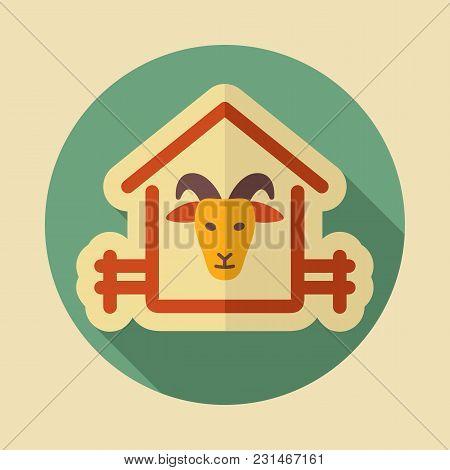 Goat House Icon. Farm Animal Sign. Graph Symbol For Your Web Site Design, Logo, App, Ui. Vector Illu