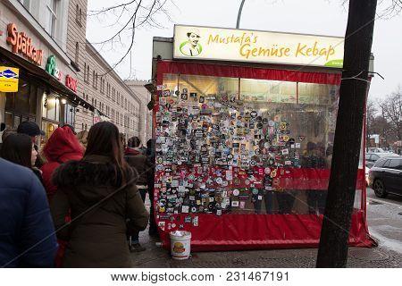 Berlin, Germany - December 16, 2017: Queue Of People In Front Of Mustafas Gemuse Kebap Where One Of