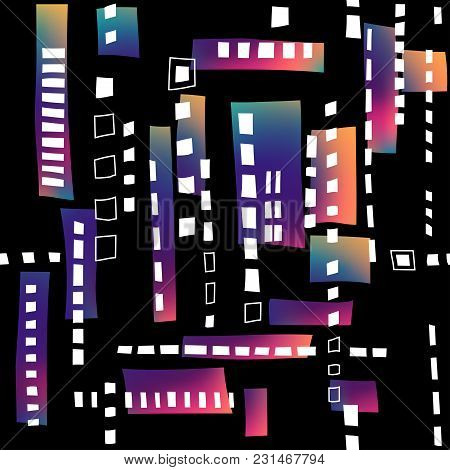 Seamless Structure Of Stylized Residential District. Black Pattern With White Windows And Fluid Grad