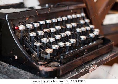 Antique Typewriter, Vintage Dusty Typewriter, Side View