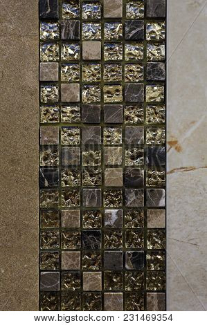 Small Mosaic Golden Tiles Home Gold Decoration