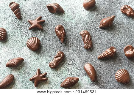 Chocolate Candies In The Shape Of Seafood