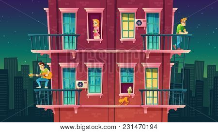 Vector Residential Multi-storey Apartment, Neighborhood, House Outside With People Concept, Private