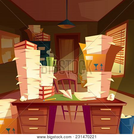 Vector Cartoon Background With Piles Of Paper In Empty Office, Paperwork, Folders, Documents In Boxe