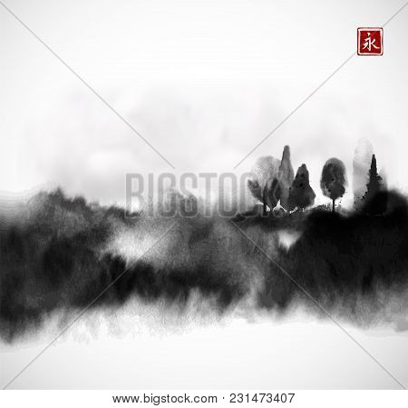 Stylized Black Ink Wash Painting With Misty Forest Trees On White Background. Traditional Oriental I