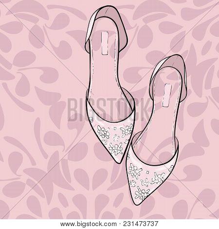 Elegant Fashion Shoes, Sandals, Flats. Vector Illustration For Wedding Cards, Invitation, Scrapbooki