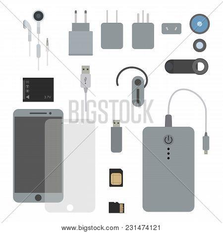 Phone Accessories Set Flat Vector Illustration. Concept Kit For A Smart Phone. Mobile, Uk, Us, Eu, A