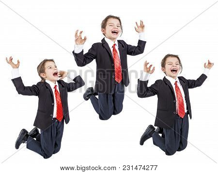 Young Businessman Is Kneeling Screaming, Raising His Hands Up, . Isolated. White Background.