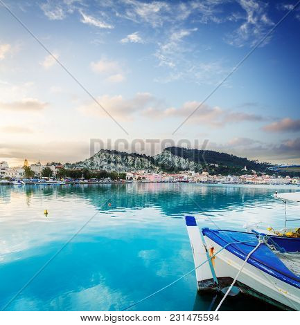 Fishing Boats In Zaante Town Harbour Under Sunset Sky, Zakinthos Greece