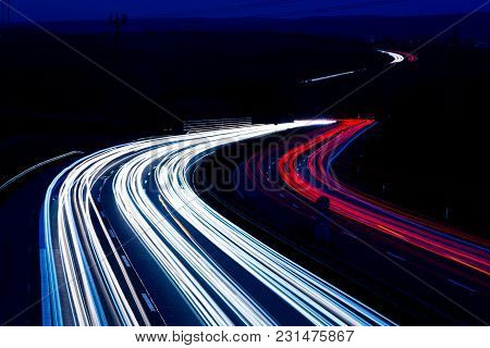 Night Traffic Trails On A German Highway, Motion Blur