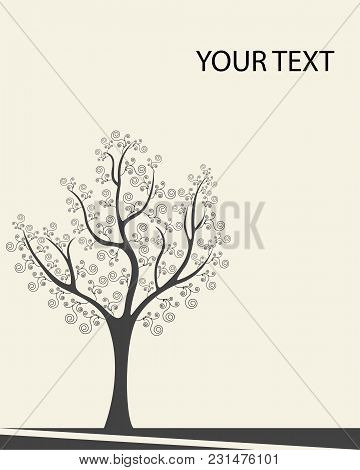 Background With Tree. Vector Illustration - Tree With Swirls Of Black On Beige Background.