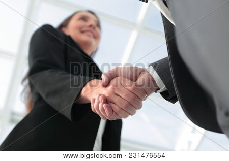 Business partnership meeting concept. Image businessmans handsha