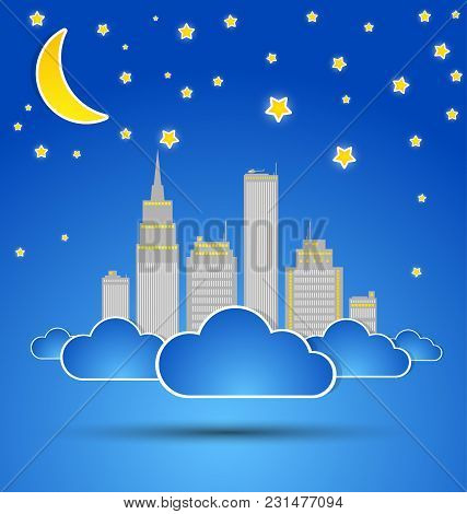 City At Night. Vector Illustration. Modern Background With Architecture