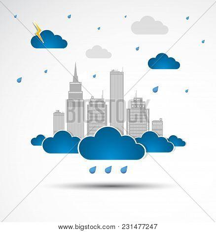 Skyscraper. City Theme Background. Rainy Weather. Vector