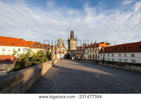 Charles Bridge At Sunny Morning, Prague, Czech Republic