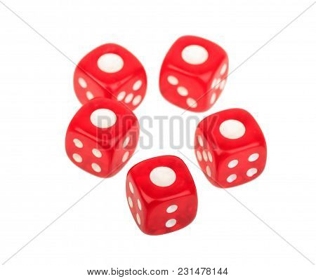 Five Dice Dice With A Number One At The Top Isolated On White Background, Casino, Gambling